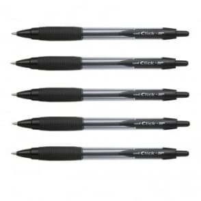 Click BP Retractable Ballpoint Pens Pack of 5 - Black Ink