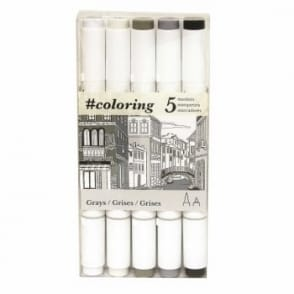 Colouring Dual Tip Markers for Canvas Greys set of 4 plus a blender