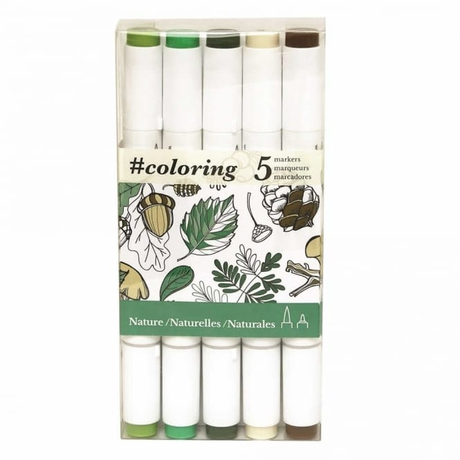 Colouring Dual Tip Markers for Canvas Nature set of 5