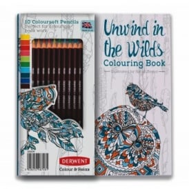 Coloursoft Pencils 10 Set & Unwind In The Wilds Colouring Book
