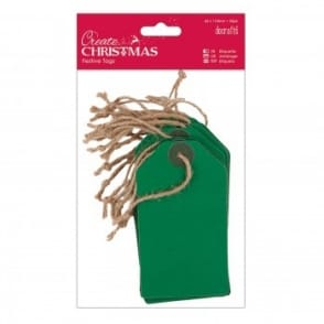 Create Christmas Green Kraft Tags