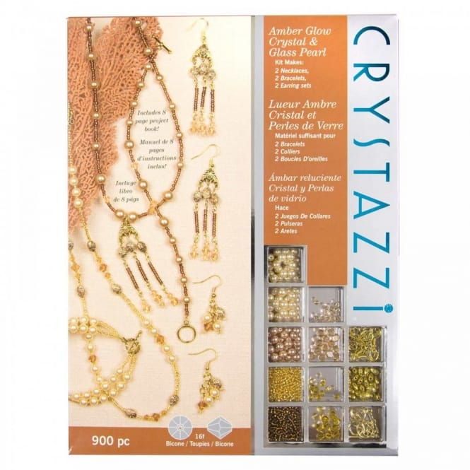 Crystazzi 900pc Jewellery Making Kit Amber Glow Crystal & Glass Pearl*