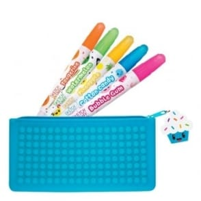 Cupcake Pencil Case and 5 Sketch & Sniff Scented Gel Crayons Smencils Bundle