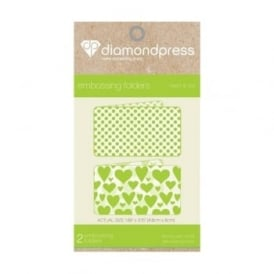 Diamond Press Embossing Folder Hearts & Dots