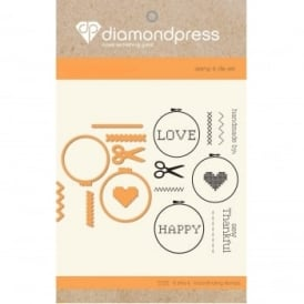 Diamond Press - Stamp and Dies Handmade Love 7 Dies 13 Stamps