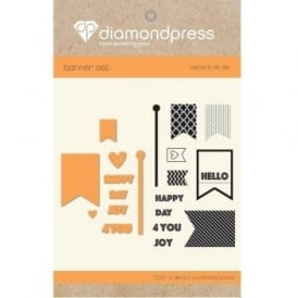 Diamond Press - Stamp and Dies Happy Day For You 11 Dies 12 Stamps