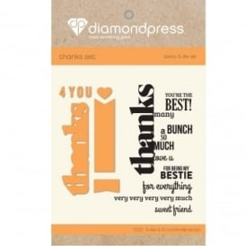 Diamond Press - Stamp and Dies Thanks 5 Dies 10 Stamps
