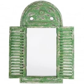 Distressed Green Wooden Arched Glass Mirror With Shutters*