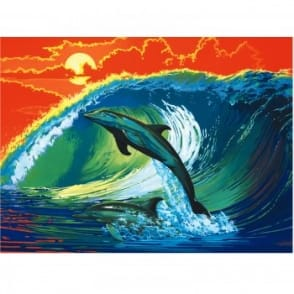 Dolphins & Surf Painting By Numbers