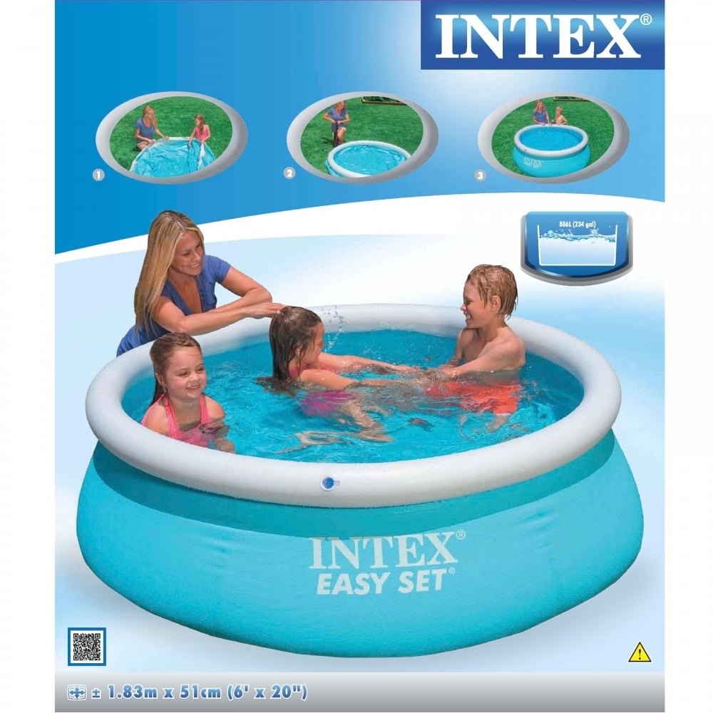 easy set pool 6ft x 20in intex from uk. Black Bedroom Furniture Sets. Home Design Ideas