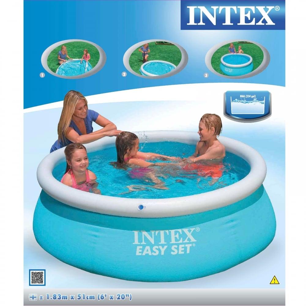 Easy Set Pool 6ft X 20in Intex From Uk