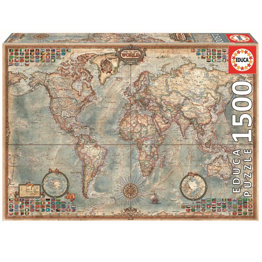 Map Of Uk 1500.Educa Borras World Map 1500 Piece Jigsaw Puzzle