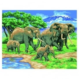 Elephants Large Painting By Numbers
