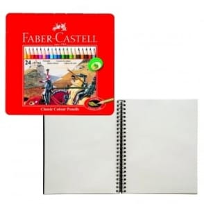 Faber Castell Classic Colour Pencils Tin of 24 With Hardback Spiral Pad