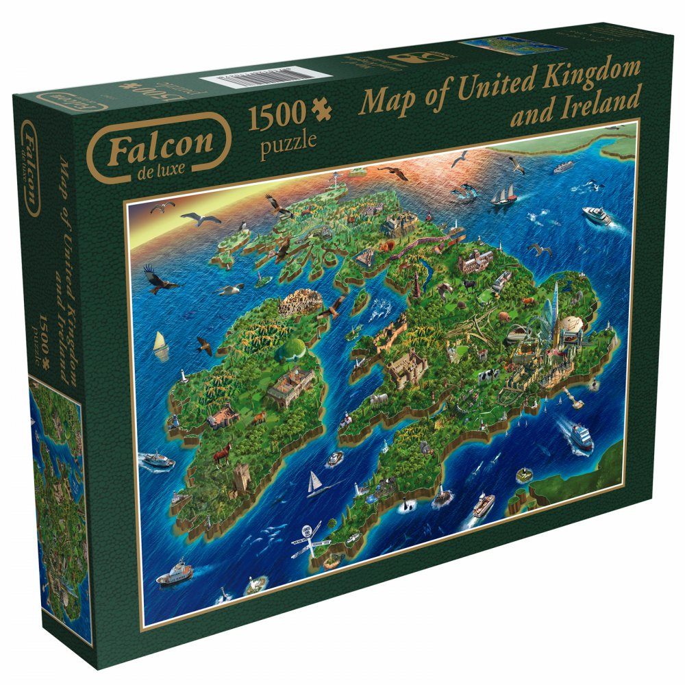 Map Of Uk 1500.Falcon Map Great Britain Eire 1500 Piece Puzzle Craftyarts Co Uk