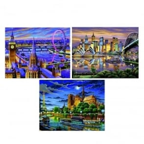 Famous Cities Paint By Numbers Triple Pack