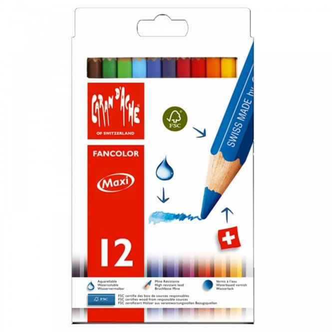 Fancolor Water Soluble Pencils 12 Tin