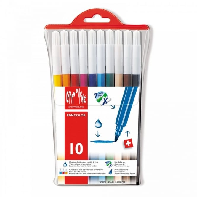 Fancolor Water-soluble Standard Fibre Tipped Pens - Pack of 10