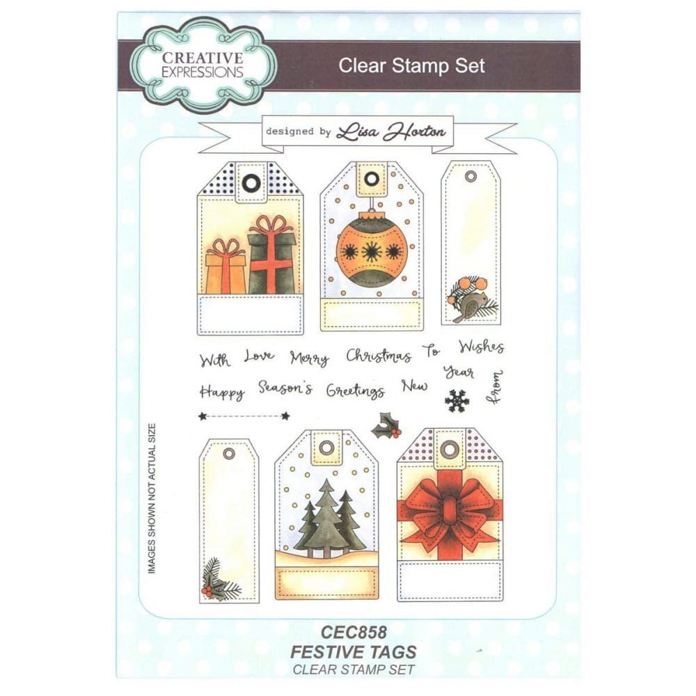 Hortons Lighting Outlet: Festive Tags Clear Stamp 21 Set By Lisa Horton