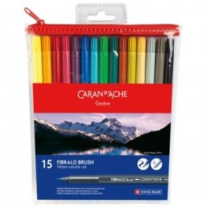 Fibralo Water Soluble Brush Pens 15 Pack