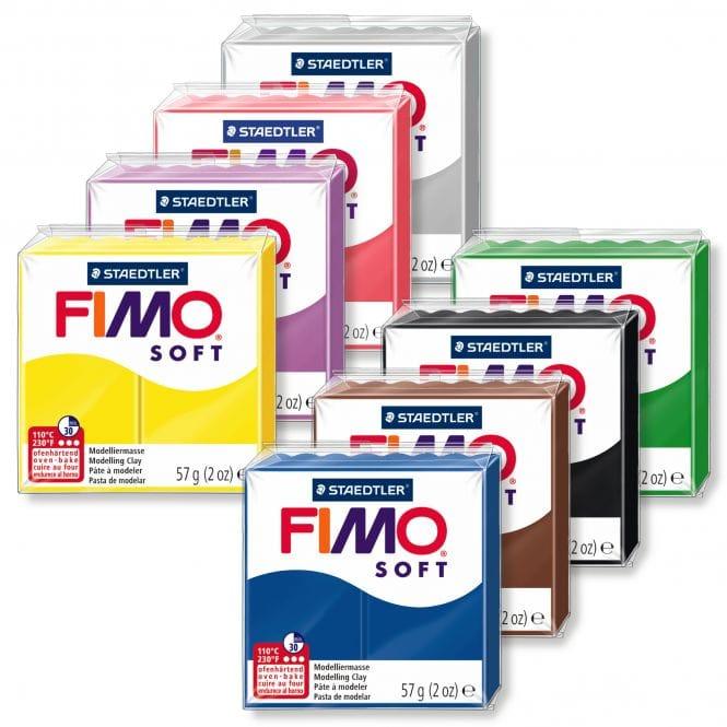 FIMO Soft Polymer Oven Modelling Clay Flesh /& Sahara White 57g Set of 3