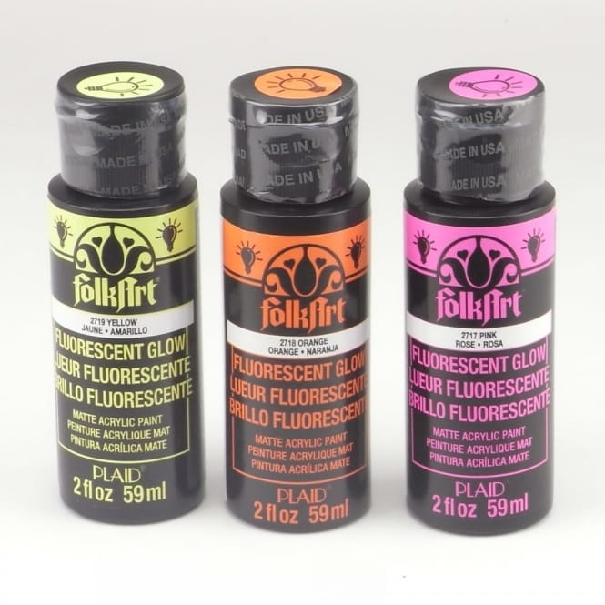 FolkArt Acrylic Paint UV Glow Colours Bundle