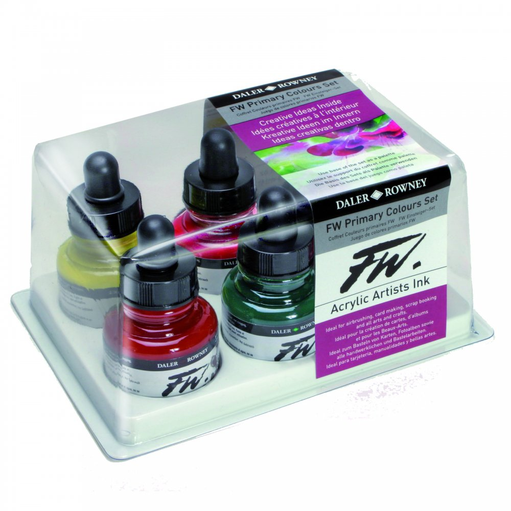 Fw Artists Ink Primary Colours Set Daler Rowney From
