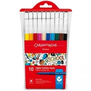 Geneve Water-Soluble Fibre Tipped Colour Pens 10 Pack