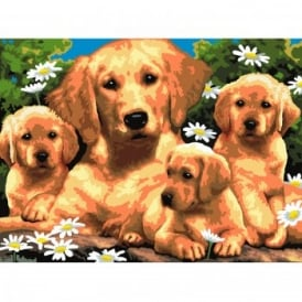 Golden Retriever with Puppies Large Paint By Numbers