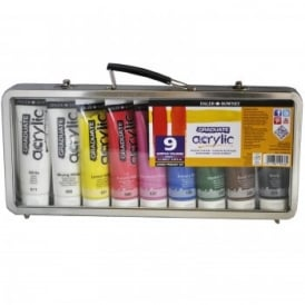 Graduate Acrylic - 9 Primary Colours In a Metal Carry Case