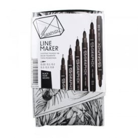 Graphik Line Maker Black Pen Pack of 6