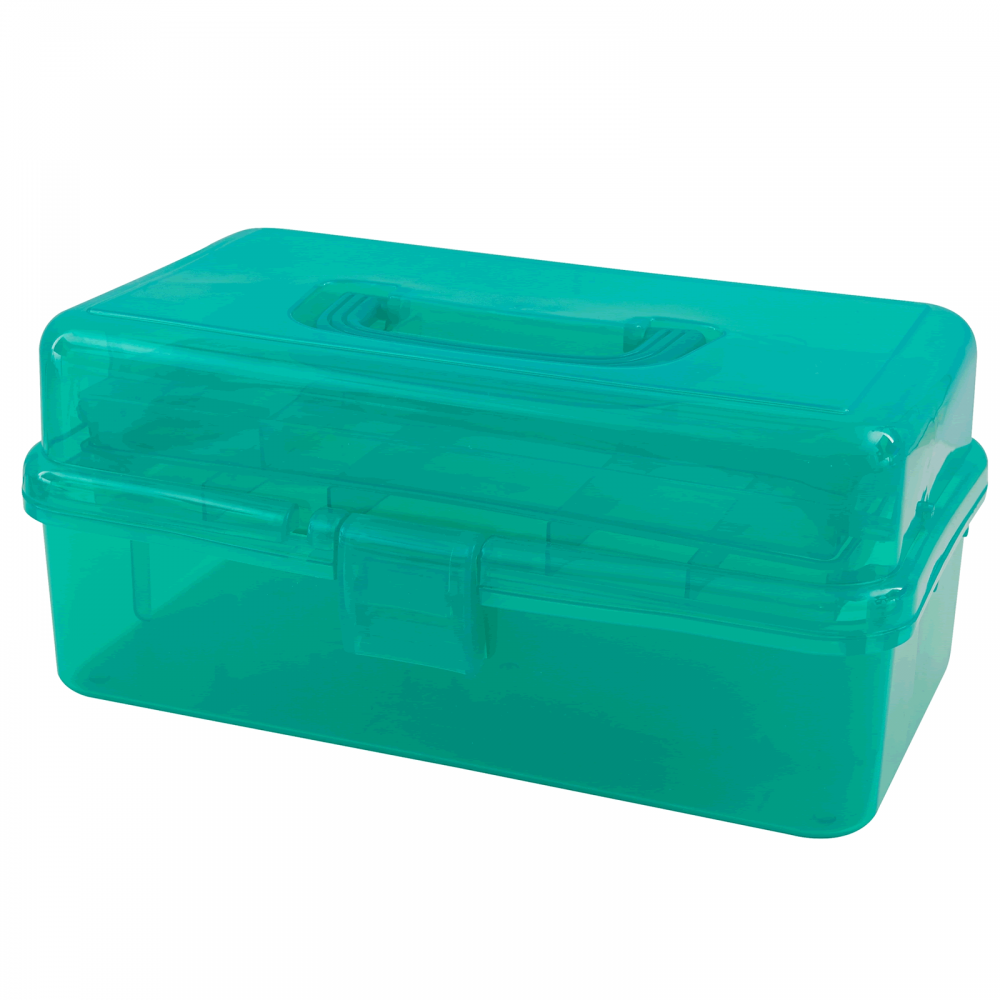 Green Caddy Case with Inner Tray - CraftyArts.co.uk