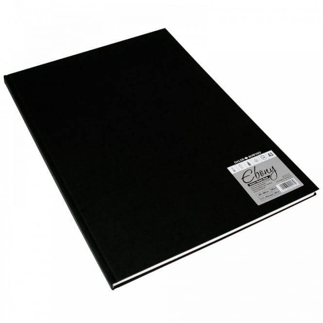 Hard Back Ebony Bound Sketch Pad White Pages A4
