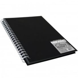 Hard Back Ebony Spiral Sketch Pad Black Pages A3