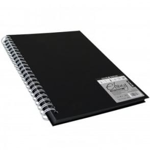 Hard Back Ebony Spiral Sketch Pad Black Pages A4