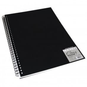 Hard Back Ebony Spiral Sketch Pad White Pages A4