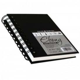 Hard Back Ebony Spiral Sketch Pad White Pages A5