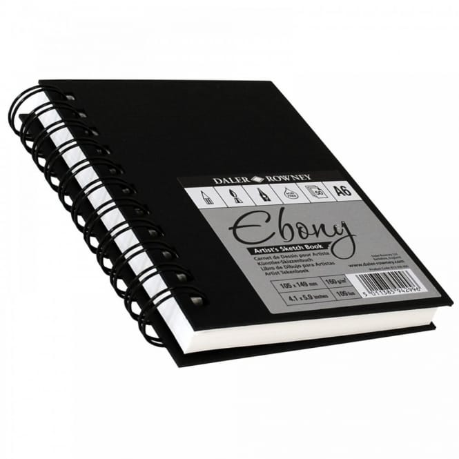 Hard Back Ebony Spiral Sketch Pad White Pages A6