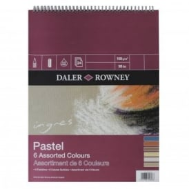 Ingres Pastel 6 Assorted Colours Spiral Pad 12 x 9""