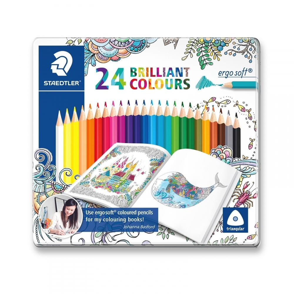 Johanna Basford Ergosoft Triangular Colouring Pencil 24 Tin