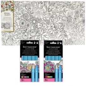 Johanna Basford Flowers and Vines + 10 Colorista pens Bundle