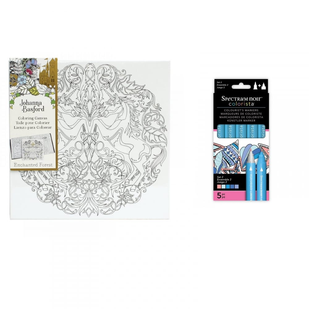 Johanna Basford Unicorn Canvas And Colorista 5 Pen Bundle
