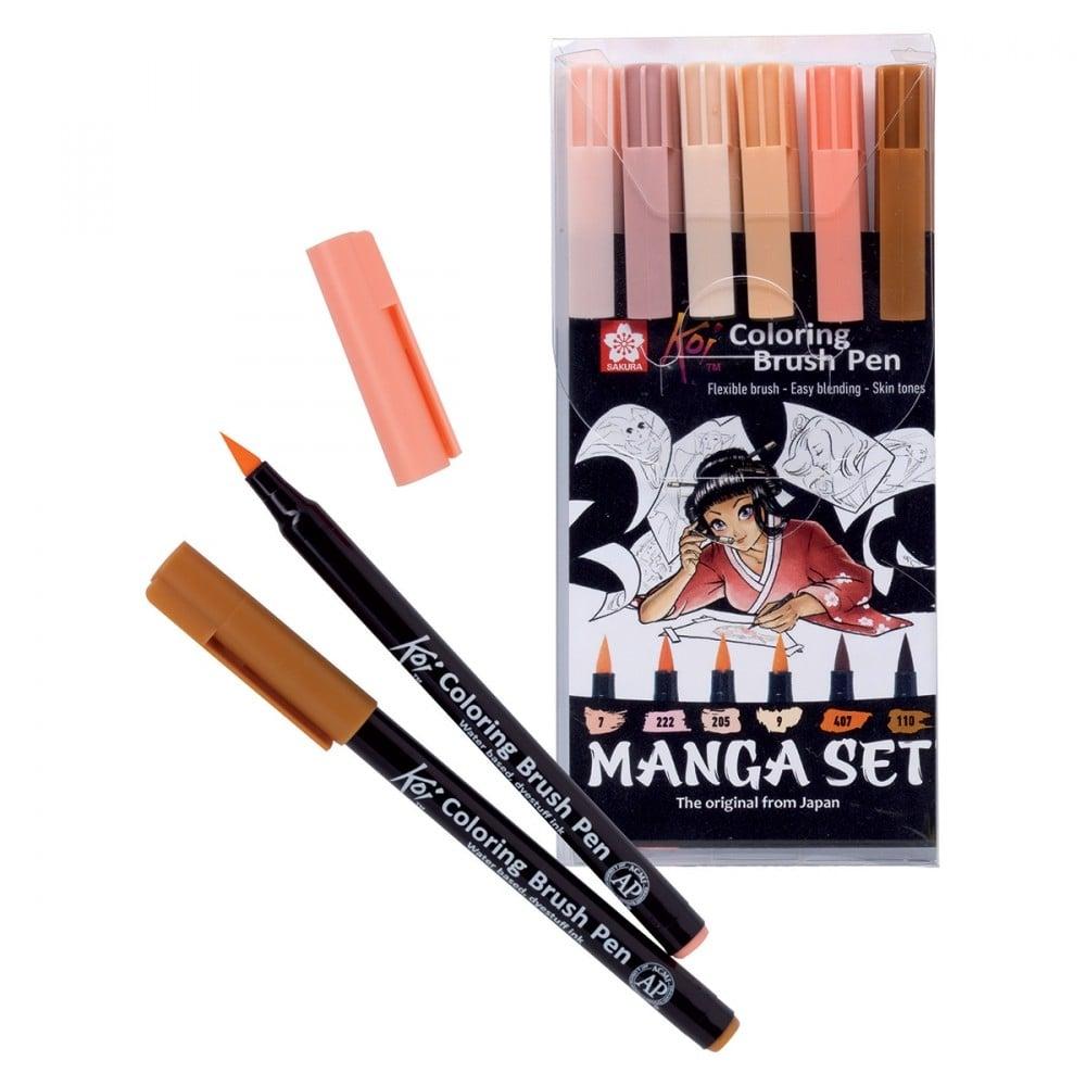 Koi Coloring Brush Pen Skin Tones 6 Pack - CraftyArts.co.uk