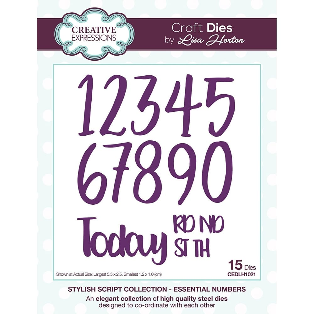 Lisa Horton Stylish Script Collection Essential Numbers Craft 15 Dies