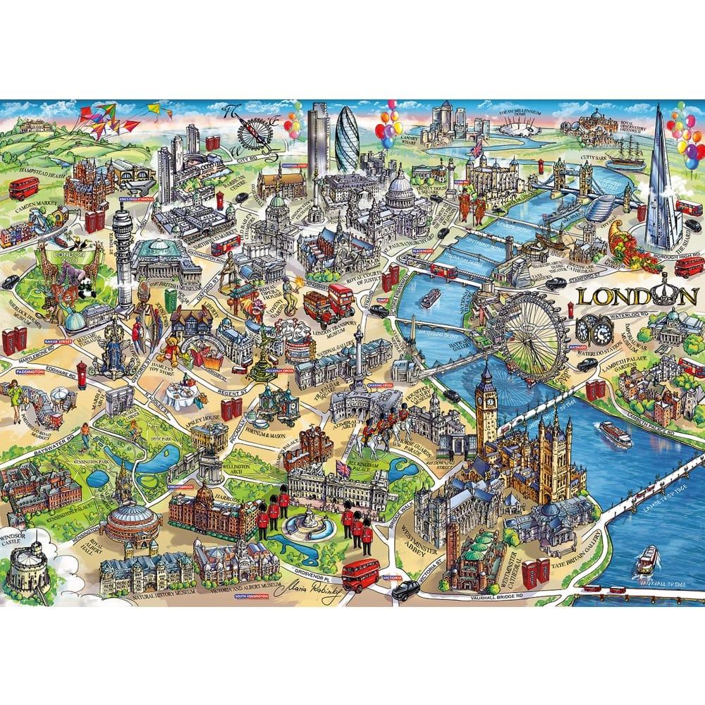 London Landmarks Map.London Landmarks 1000 Piece Puzzle
