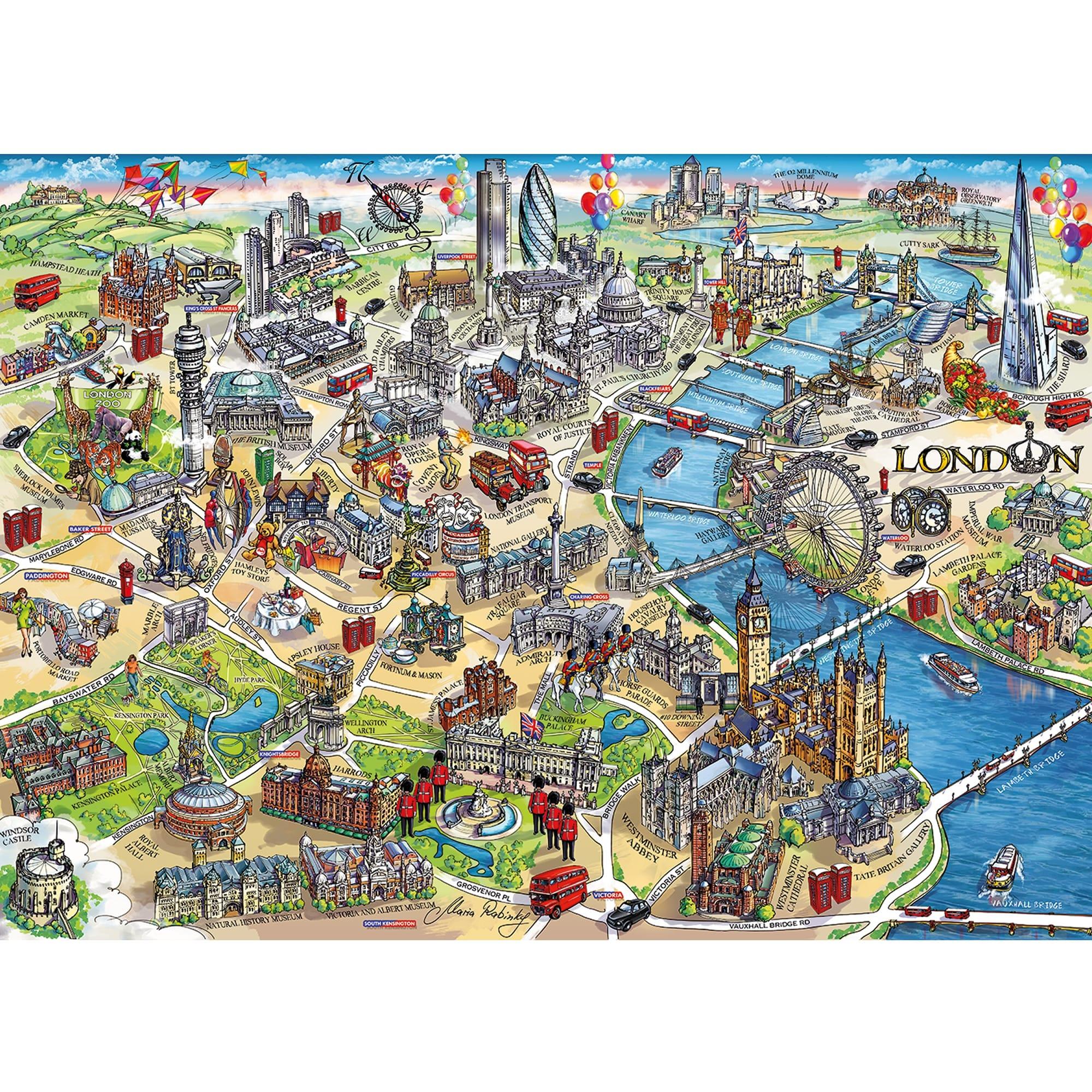 1000 piece city landmarks jigsaw puzzle