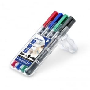 Lumocolor Duo Permanent Marker 4 Pen Set