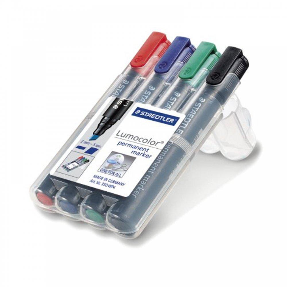 lumocolor permanent markers 4 set chisel tip. Black Bedroom Furniture Sets. Home Design Ideas