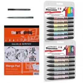 Manga Pad A4 with 12 Promarkers Fineliner Bundle