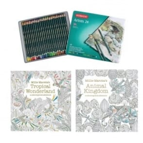 Millie Marotta's colouring Books and Artists Pencils Bundle
